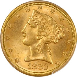 Image of 1882 $5 PCGS/CAC MS64