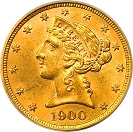 Image of 1900 $5 PCGS/CAC MS63 (OGH)