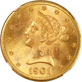 Image of 1901-S $10 NGC/CAC MS64+