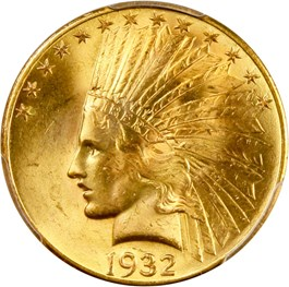 Image of 1932 $10 PCGS/CAC MS64