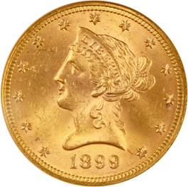 Image of 1899 $10 NGC/CAC MS64