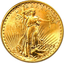 Image of 1922 $20 PCGS/CAC MS62 (OGH)