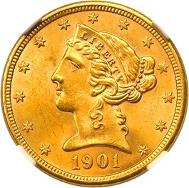 Image of 1901-S $5 NGC/CAC MS64+