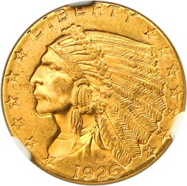 Image of 1926 $2 1/2 NGC/CAC MS64+