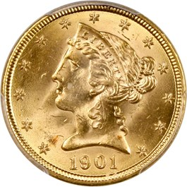 Image of 1901 $5 PCGS/CAC MS64