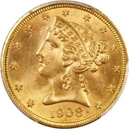 Image of 1908 Liberty $5 PCGS/CAC MS63+