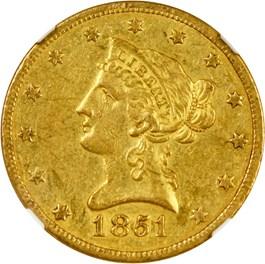 Image of 1851-O $10 NGC/CAC AU55