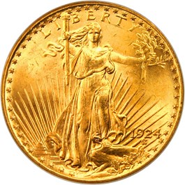 Image of 1924 $20 PCGS/CAC MS65 (OGH)