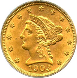 Image of 1903 $2 1/2 PCGS/CAC MS60 (OGH)