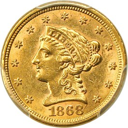Image of 1868-S $2 1/2 PCGS MS61
