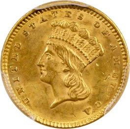 Image of 1856 G$1 PCGS MS62 (Type 3, Slanted 5)