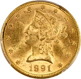 Image of 1891 $10 PCGS MS62