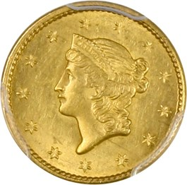 Image of 1849 G$1 PCGS MS63 (Open Wreath)