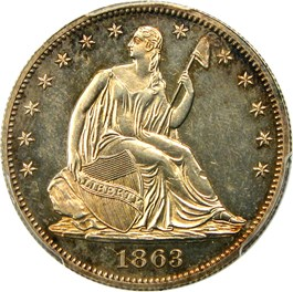 Image of 1863 50c PCGS Proof 63