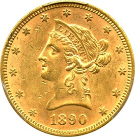 Image of 1890 $10 PCGS MS62