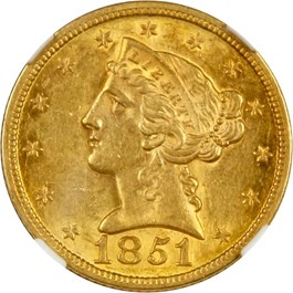 Image of 1851 $5 NGC MS61