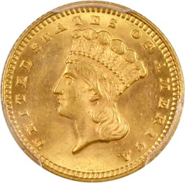 Image of 1869 G$1 PCGS MS64