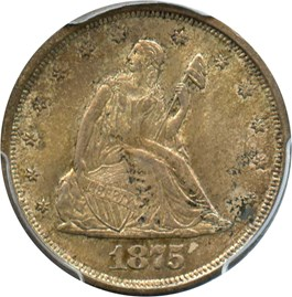 Image of 1875-S 20c PCGS/CAC MS63