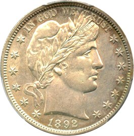 Image of 1892 50c PCGS AU55