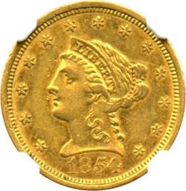 Image of 1854-O $2 1/2 NGC AU58