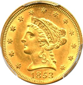 Image of 1853 $2 1/2 PCGS MS63
