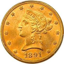 Image of 1891 $10 PCGS MS63