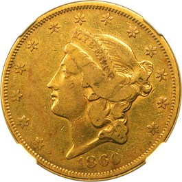 Image of 1860 $20 NGC/CAC VF30