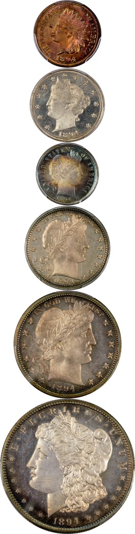 Image of 1894 Proof Set 1c-$1 PCGS/CAC Proof 63RB, PR64 Cameo, PR66+, PR65, PR66, PR64 Cameo (6 Coins)