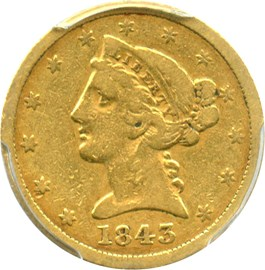 Image of 1843-O $5 PCGS F12