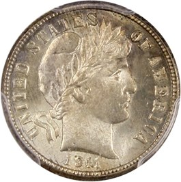 Image of 1911-S 10c PCGS MS66