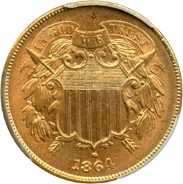 Image of 1864 2c PCGS MS64+ RD (Large Motto)
