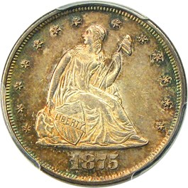 Image of 1875 20c PCGS MS62