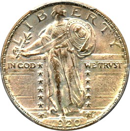 Image of 1920-S 25c PCGS/CAC MS65