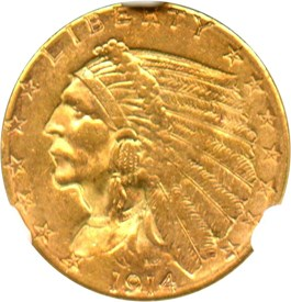 Image of 1914-D $2 1/2 NGC MS61