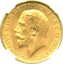 Image of India-British: 1918I Gold Sovereign NGC MS63 (KM-525A) .2355oz Gold
