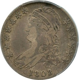Image of 1808/7 50c PCGS/CAC VF25