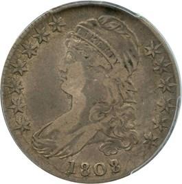 Image of 1808/7 50c PCGS/CAC VF25