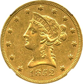 Image of 1852 $10 NGC AU58