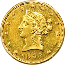 Image of 1848 $10 PCGS AU58