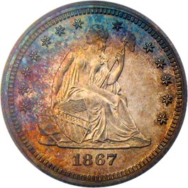 Image of 1867 25c PCGS/CAC Proof 66 CAM