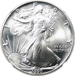 Image of 1990 Silver Eagle $1 NGC MS70