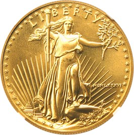 Image of 1986 Gold Eagle $50 NGC MS69