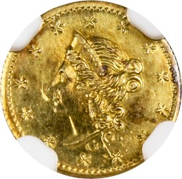 Image of 1853 Cal. Gold 50c NGC UNC Details (Improperly Cleaned, Round Liberty, BG-414)