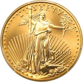 Image of 2001 Gold Eagle $25 PCGS MS70