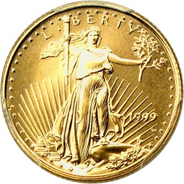 Image of 1999-W Gold Eagle $5 PCGS MS70 (Unfinished Proof Dies)