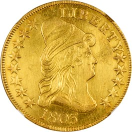 Image of 1803 $10 NGC AU Details (Harshly Cleaned, Small Stars Reverse)