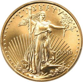 Image of 2000 Gold Eagle $25 PCGS MS70