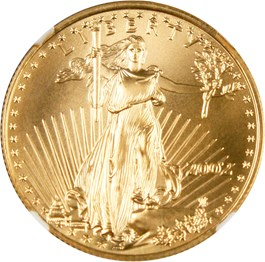 Image of 2002 Gold Eagle $25 NGC MS70