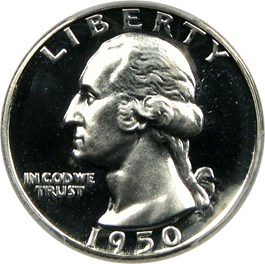 Image of 1950 25c PCGS Proof 68 CAM