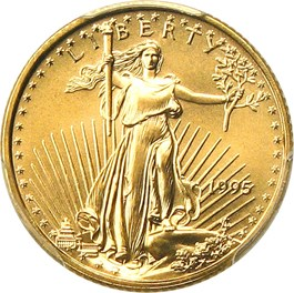 Image of 1995 Gold Eagle $5 PCGS MS70